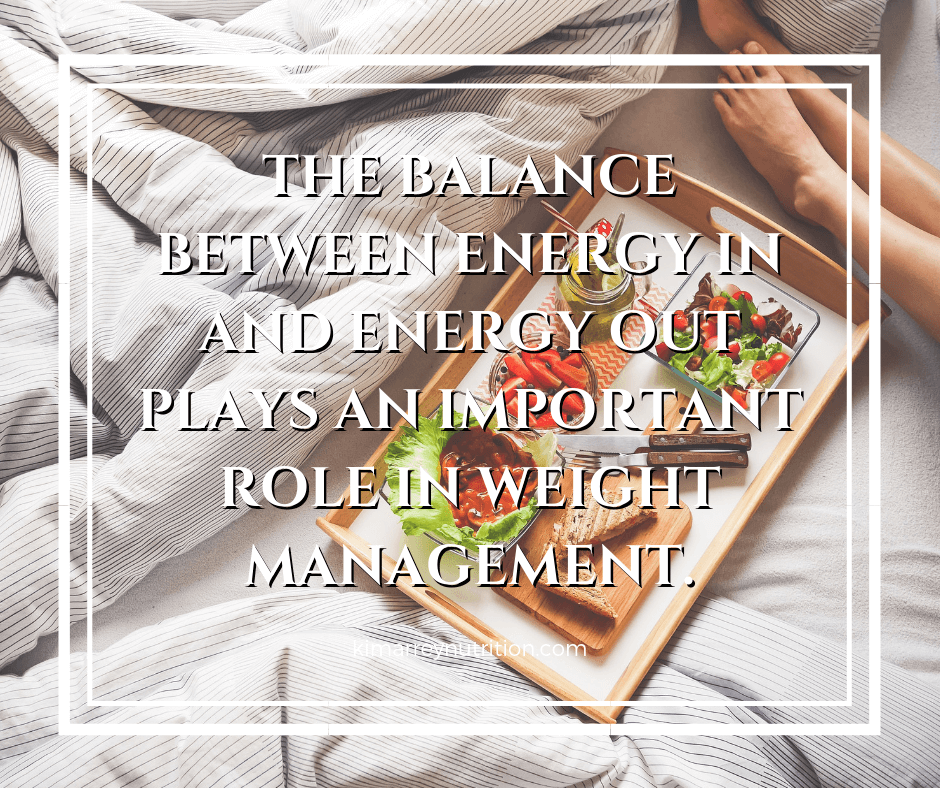 The balance between energy in and energy out plays an important role in weight management.